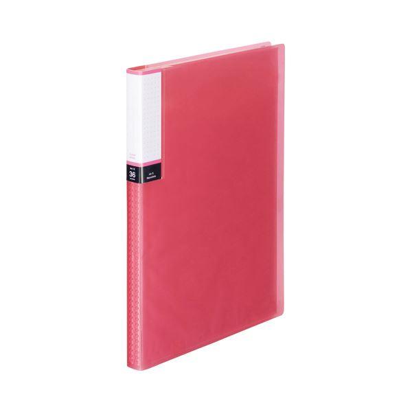 (まとめ) TANOSEE クリアブック(透明表紙) A4タテ 36ポケット 背幅20mm ピンク 1セット(10冊) 【×10セット】