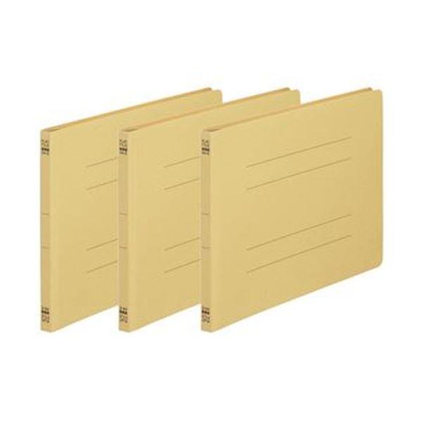 (まとめ)TANOSEE フラットファイル(ノンステープルタイプ)A4ヨコ 150枚収容 背幅18mm 黄 1パック(3冊)【×50セット】