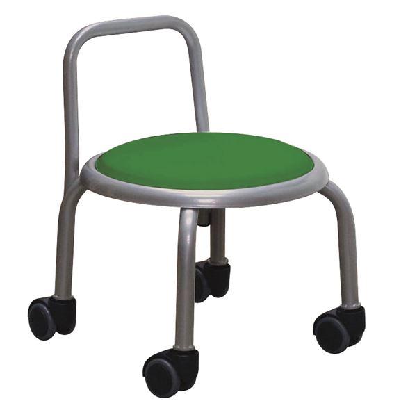 スタッキングチェア/丸椅子 【同色3脚セット グリーン×シルバー】 幅32cm 日本製 『背付ローキャスターチェア ボン』【代引不可】