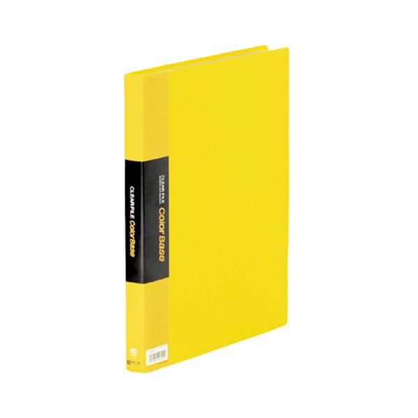 (まとめ) キングジム クリアファイル カラーベースW A4タテ 40ポケット 背幅24mm 黄 132CW 1冊 【×10セット】