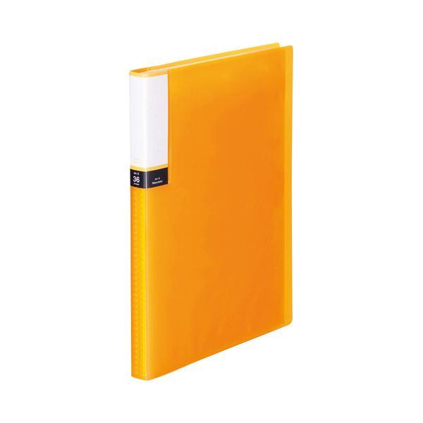 (まとめ) TANOSEE クリアブック(透明表紙) A4タテ 36ポケット 背幅20mm オレンジ 1セット(10冊) 【×10セット】