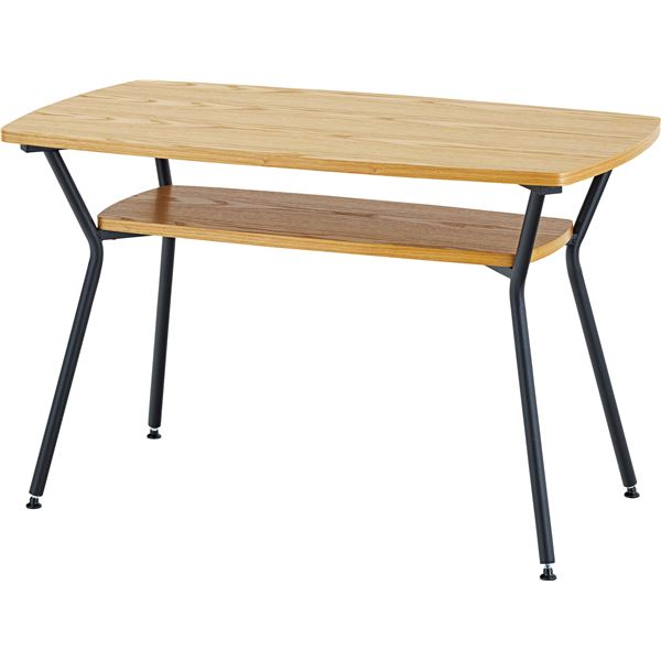 ダイニングテーブル/リビングテーブル 【幅110cm×奥行60cm×高さ68cm】 棚付き 天然木×スチール 【組立品】