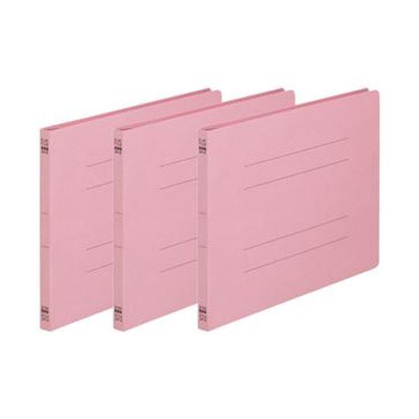 (まとめ)TANOSEE フラットファイル(ノンステープルタイプ)A4ヨコ 150枚収容 背幅18mm ピンク 1パック(3冊)【×50セット】