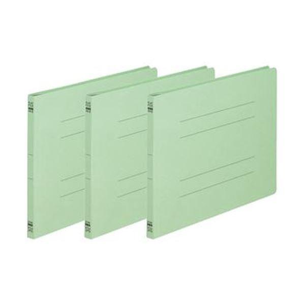 (まとめ)TANOSEE フラットファイル(ノンステープルタイプ)A4ヨコ 150枚収容 背幅18mm 緑 1パック(3冊)【×50セット】