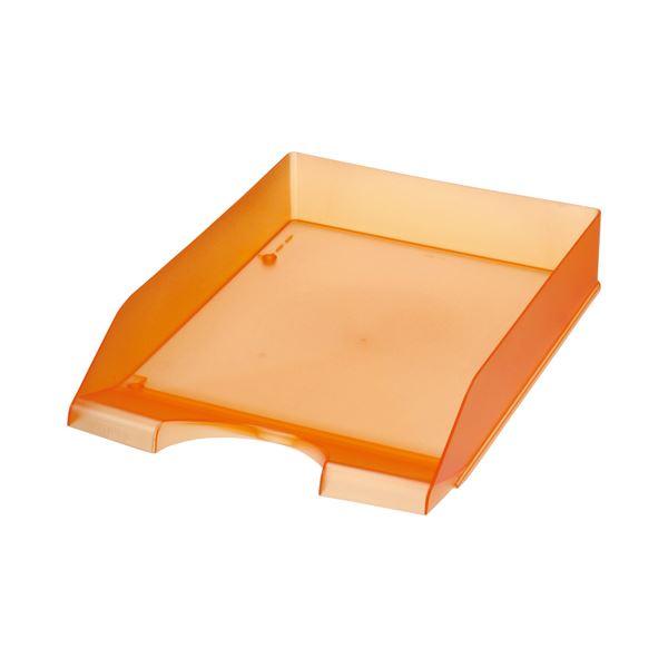 (まとめ) クルーズ スケルトンカラーレタートレーA4タテ オレンジ LT-500OR 1セット(3個) 【×10セット】