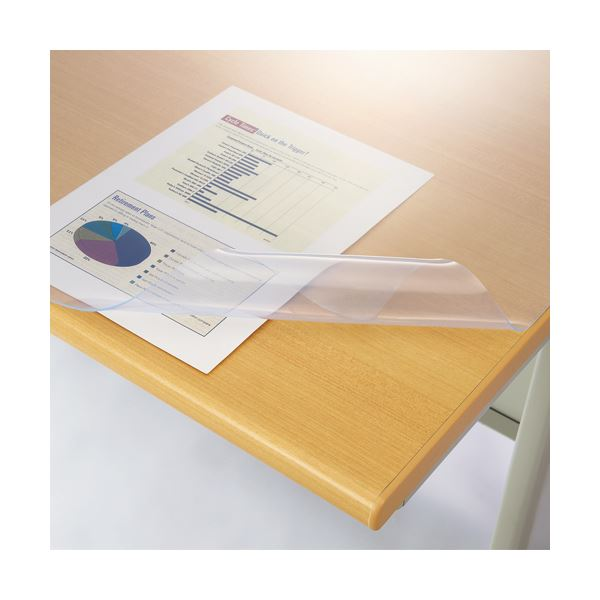 ライオン事務器 デスクマット再生オレフィン製 光沢仕上 シングル 1090×690×1.5mm No.117-SRK 1枚