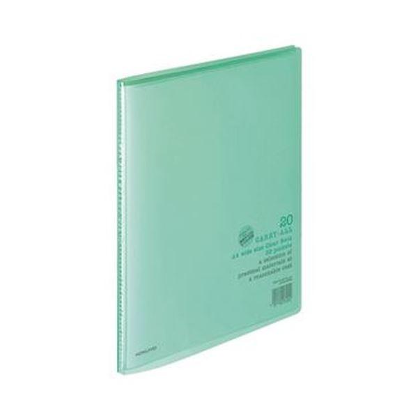 (まとめ)コクヨ クリヤーブック(キャリーオール)固定式 A4ワイド 20ポケット 背幅11mm 緑 ラ-3G 1セット(10冊)【×3セット】