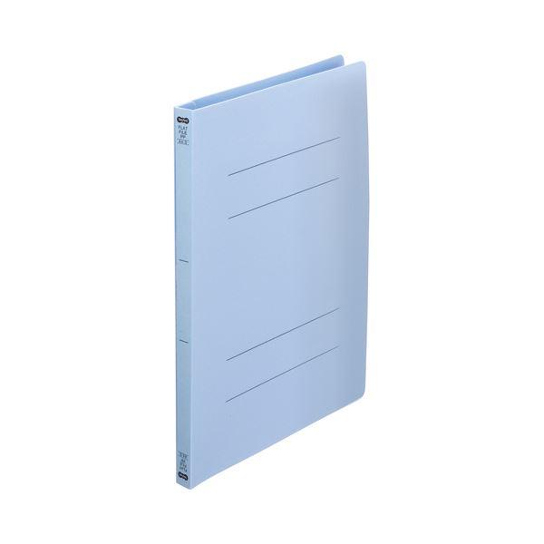 (まとめ) TANOSEEフラットファイル(再生PP) A4タテ 150枚収容 背幅18mm ブルー 1セット(25冊:5冊×5パック) 【×10セット】