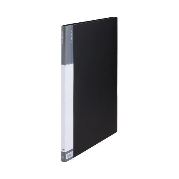 (まとめ) TANOSEEクリヤーファイル(台紙入) A3タテ 20ポケット 背幅15mm ダークグレー 1セット(5冊) 【×5セット】