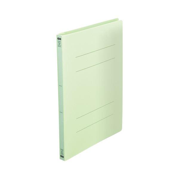 (まとめ) TANOSEEフラットファイル(再生PP) A4タテ 150枚収容 背幅18mm グリーン1セット(25冊:5冊×5パック) 【×10セット】