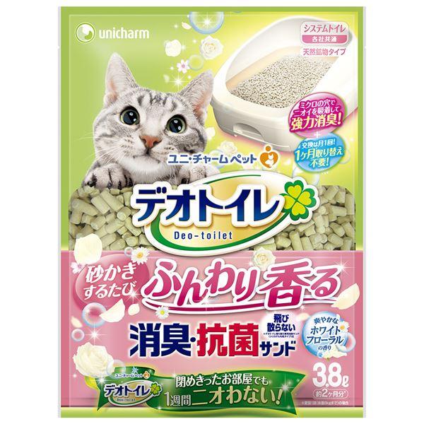 (まとめ)デオトイレ ふんわり香る消臭・抗菌サンド ホワイトフローラルの香り 3.8L (ペット用品)【×4セット】