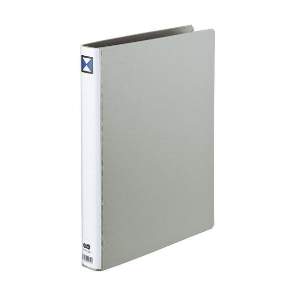 (まとめ)両開きパイプ式ファイル A4-S 20mmとじ グレー 10冊【×3セット】