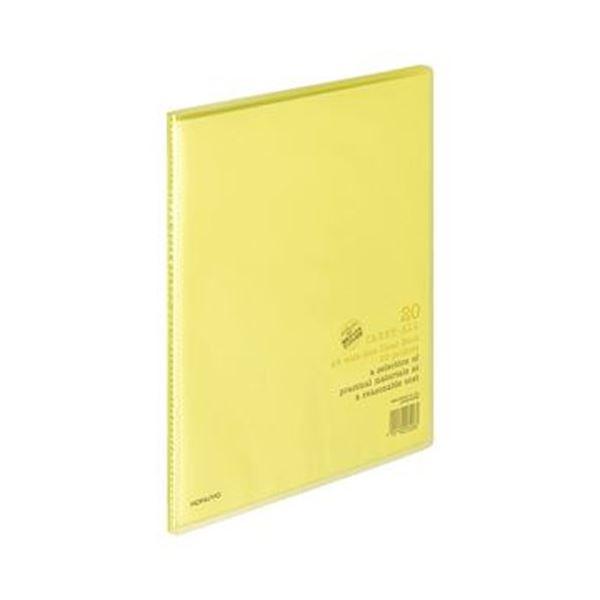 (まとめ)コクヨ クリヤーブック(キャリーオール)固定式 A4ワイド 20ポケット 背幅11mm 黄 ラ-3Y 1セット(10冊)【×3セット】