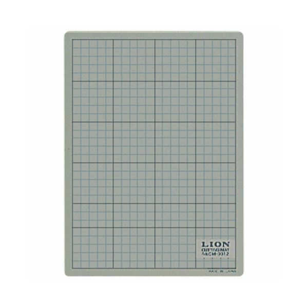 (まとめ) ライオン事務器 カッティングマット 再生PVC製 両面使用 300×220×3mm 灰/黒 CM-3012 1枚 【×10セット】