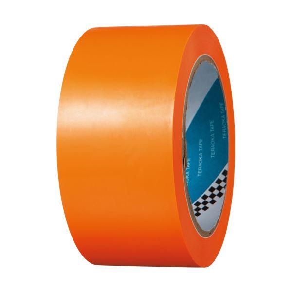 (まとめ) 寺岡製作所 ラインテープ No.340 50mm×20m オレンジ No.340-50X20オレンジ 1巻 【×5セット】