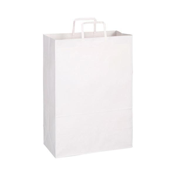 (まとめ)TANOSEE 紙手提袋 平紐 特大ヨコ340×タテ480×マチ幅170mm 白無地 1パック(50枚)【×5セット】