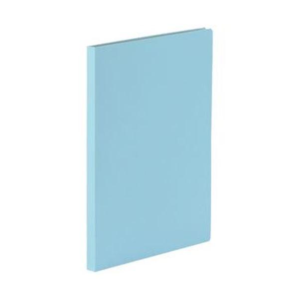 (まとめ)TANOSEE 貼り表紙クリアファイルA4タテ 20ポケット アイスランドブルー 1セット(10冊)【×3セット】