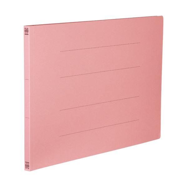 (まとめ) プラス フラットファイル 樹脂とじ具A3ヨコ 150枚収容 背幅18mm ピンク No.002N 1セット(10冊) 【×10セット】