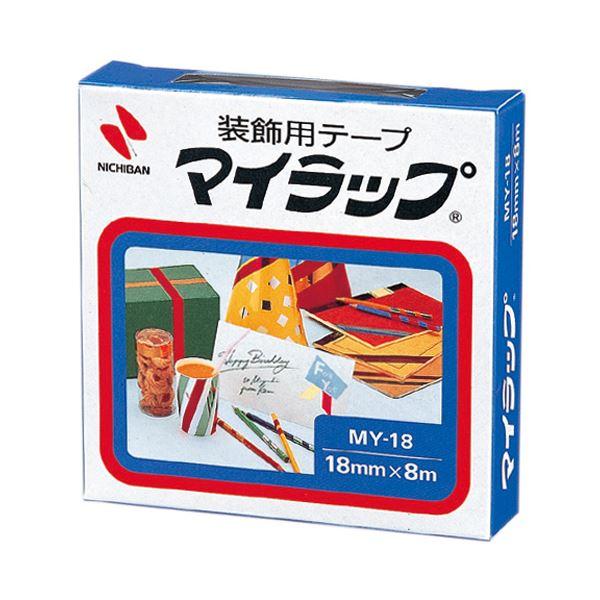 (まとめ) ニチバン 装飾用テープ マイラップ幅18mm×長さ8m 赤 MY-181 1巻 【×50セット】