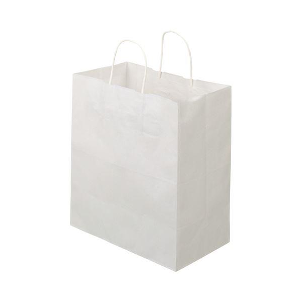 (まとめ)TANOSEE 紙手提袋 丸紐マチ広・中 ヨコ320×タテ350×マチ幅180mm 白無地 1パック(50枚)【×5セット】