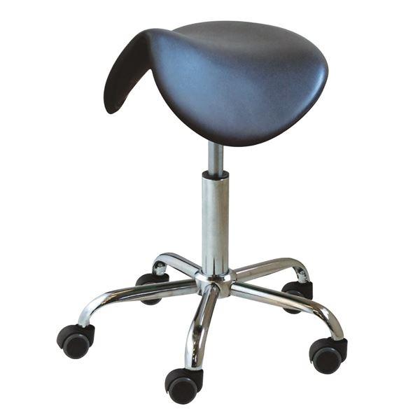 キャスター付き 丸椅子 【ブラック×クロームメッキ】 幅50cm 日本製 スチールパイプ 『ブランチサドルスツール』【代引不可】