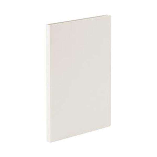 (まとめ)TANOSEE 貼り表紙クリアファイルA4タテ 20ポケット フロスティホワイト 1セット(10冊)【×3セット】