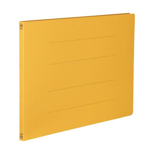 (まとめ) プラス フラットファイル 樹脂とじ具A3ヨコ 150枚収容 背幅18mm イエロー No.002N 1セット(10冊) 【×10セット】