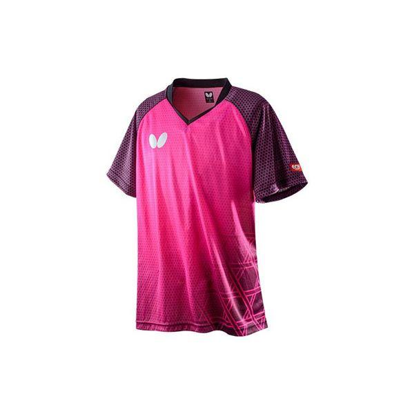Butterfly(バタフライ) 卓球ゲームシャツ LAGOMEL SHIRT ラゴメル・シャツ 男女兼用 ロゼ O