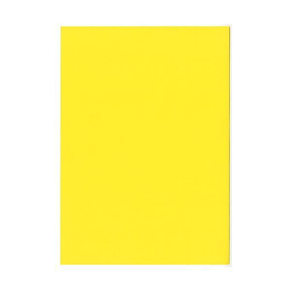 (まとめ) 北越コーポレーション 紀州の色上質A4T目 薄口 黄 1冊(500枚) 【×5セット】