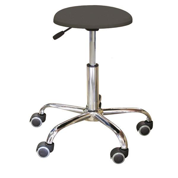 キャスター付き 丸椅子 【ブラック×クロームメッキ】 幅50cm 日本製 スチール 『ブランチクッションスツール』【代引不可】