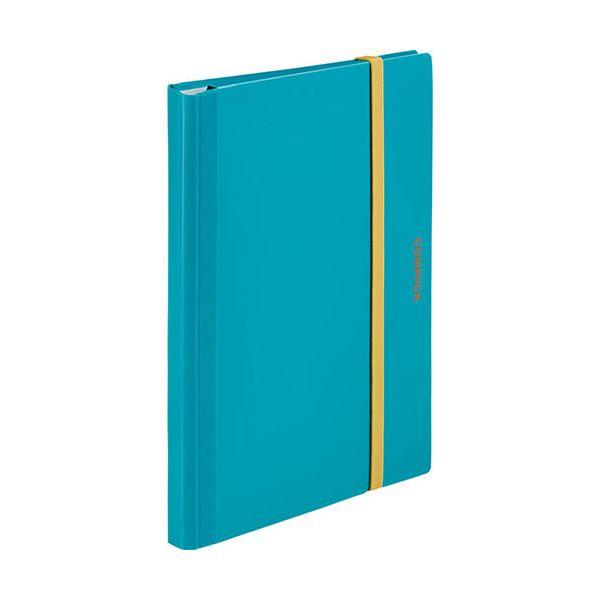 (まとめ) キングジム 二つ折りクリアーファイルコンパック 10ポケット 水色 5894Hミス 1冊 【×30セット】