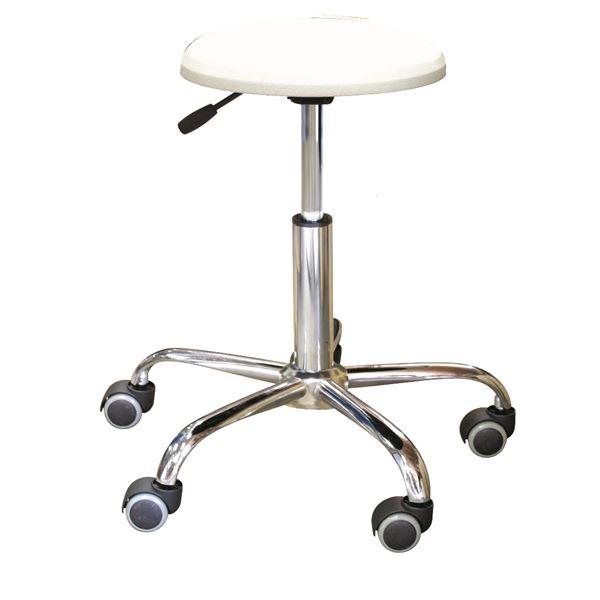 キャスター付き 丸椅子 【ホワイト×クロームメッキ】 幅50cm 日本製 スチール 『ブランチクッションスツール』【代引不可】