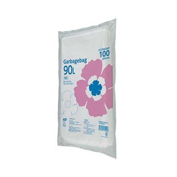 (まとめ)TANOSEE ゴミ袋エコノミー乳白半透明 90L 1パック(100枚)【×10セット】