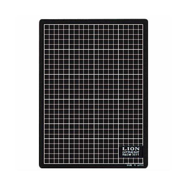 (まとめ) ライオン事務器 カッティングマット再生PVC製 両面使用 300×220×3mm 黒/黒 CM-3011 1枚 【×10セット】