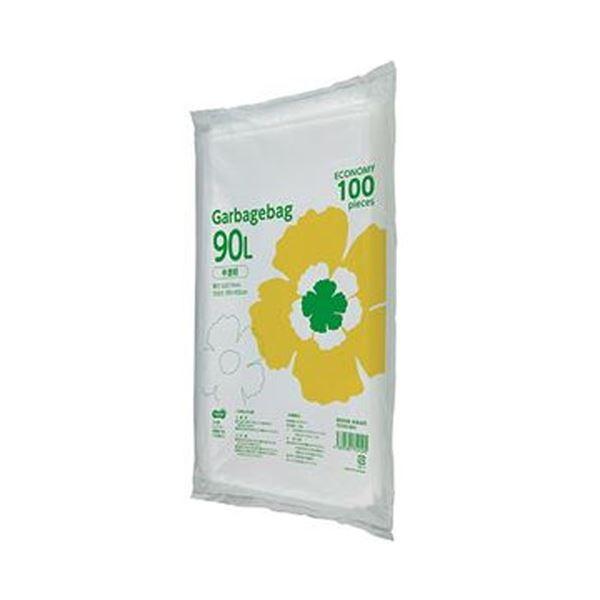(まとめ)TANOSEE ゴミ袋エコノミー 半透明 90L 1パック(100枚)【×10セット】