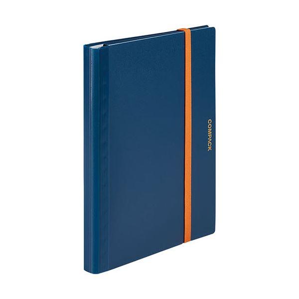 (まとめ) キングジム 二つ折りクリアーファイルコンパック 10ポケット ネイビー 5894Hネイ 1冊 【×30セット】