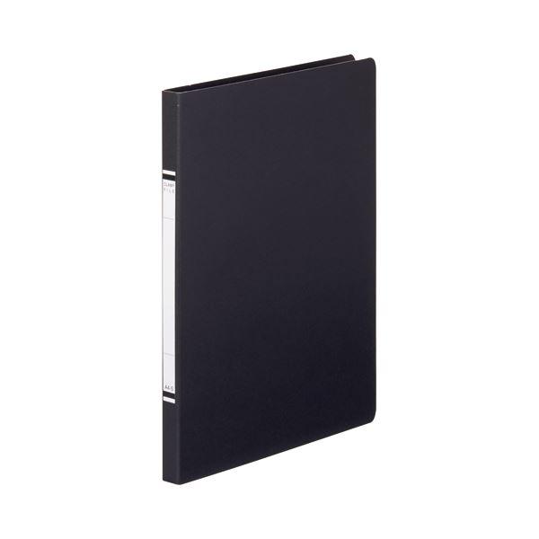 (まとめ) TANOSEE クランプファイル(紙表紙) A4タテ 100枚収容 背幅18mm 黒 1セット(10冊) 【×10セット】