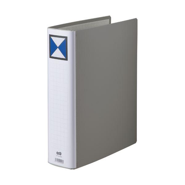 (まとめ)TANOSEE 両開きパイプ式ファイルA4タテ 600枚収容 60mmとじ 背幅76mm グレー 1セット(10冊)【×3セット】