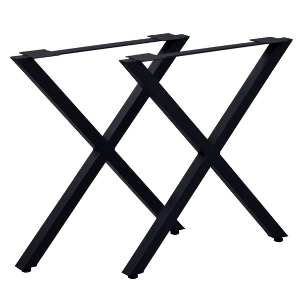 テーブルキッツ テーブル用脚【ハイタイプ X型 2本組 ブラック】 スチール製 アジャスター付 脚のみ【代引不可】