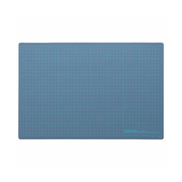 (まとめ) ライオン事務器 カッティングマットKIRIKIRI 再生PVC製 450×300×1.2mm ブルー CM-45K 1枚 【×10セット】