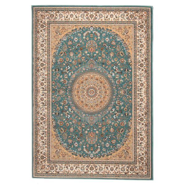 ウィルトン織 ラグマット/絨毯 【200cm×250cm ブルー】 長方形 トルコ製 高耐久 『ローサマルカンド』 〔リビング〕【代引不可】