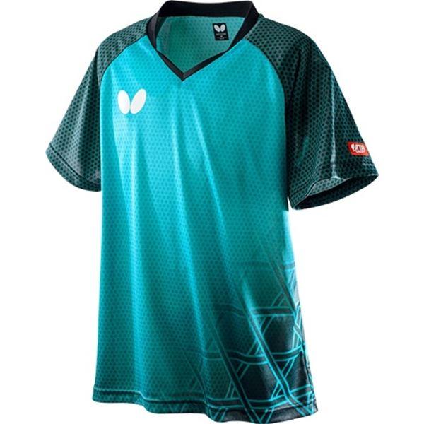 Butterfly(バタフライ) 卓球ゲームシャツ LAGOMEL SHIRT ラゴメル・シャツ 男女兼用 ターコイズブルー SS