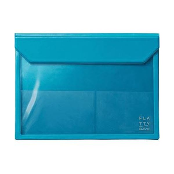 (まとめ)キングジム かさばらないバッグインバッグフラッティ A4ヨコ 水色 5366ミス 1個【×10セット】