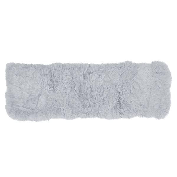 ニュージーランド産 天然ムートン ソファーマット 【約38×120cm グレー】 長方形 羊毛皮100% 『M-511-F』 〔リビング〕【代引不可】