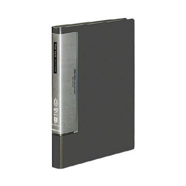 (まとめ)コクヨ クリヤーブック(ウェーブカットポケット・固定式)B5タテ 40ポケット 背幅27mm ダークグレー ラ-T571DM 1セット(4冊)【×3セット】