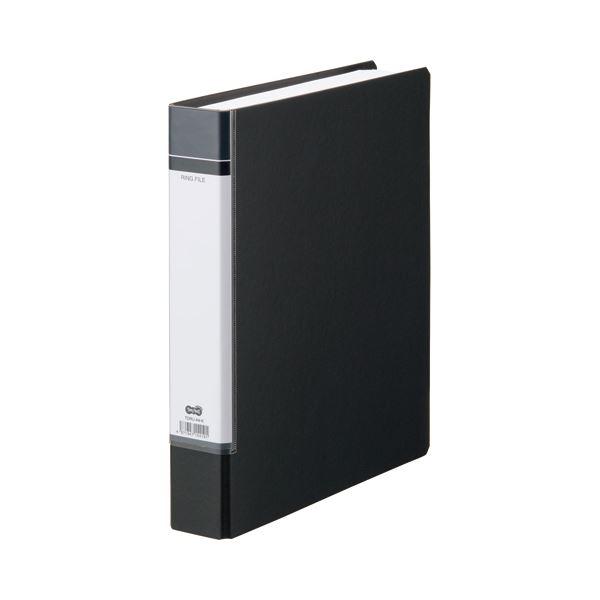 (まとめ) TANOSEE Oリングファイル(貼り表紙) A4タテ 2穴 330枚収容 背幅53mm 黒 1冊 【×30セット】