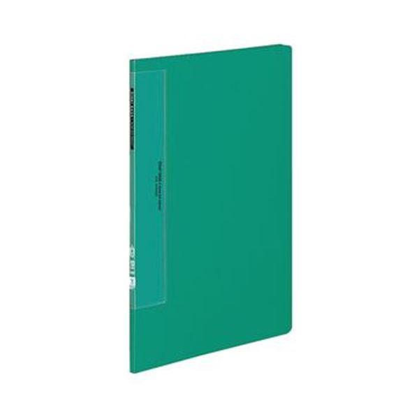 (まとめ)コクヨ クリヤーブック(ウェーブカットポケット・固定式)A4タテ 10ポケット 背幅10mm 緑 ラ-T550g 1セット(10冊)【×3セット】