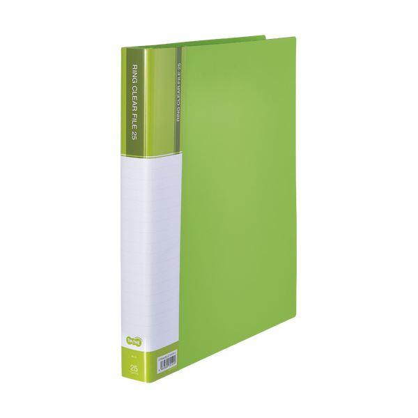 30穴 A4タテ 25ポケット (まとめ)TANOSEEPPクリヤーファイル(差替式) ライトグリーン 1セット(10冊)【×3セット】