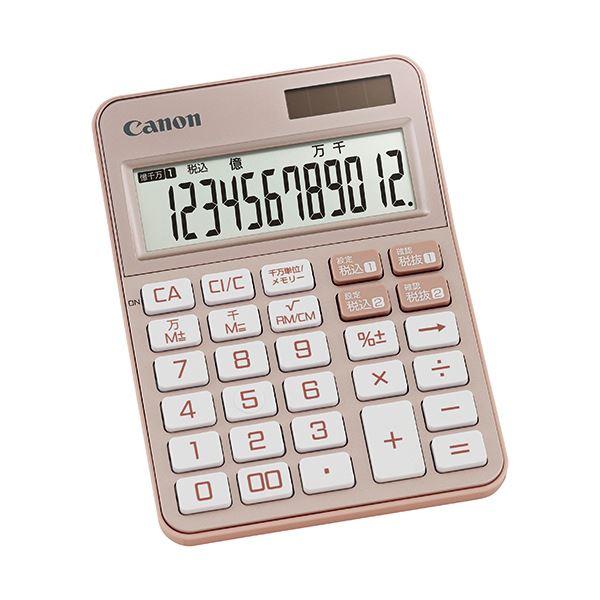 (まとめ) キヤノン カラフル電卓 ミニ卓上KS-125WUC-PK 12桁 ピンク 2307C004 1台 【×10セット】