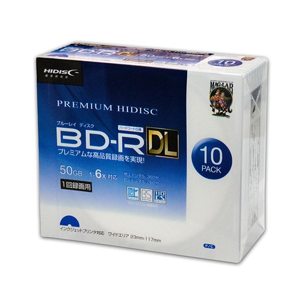 (まとめ)PREMIUM HIDISC BD-R DL 1回録画 6倍速 50GB 10枚 スリムケース 【×10個セット】 HDVBR50RP10SCX10